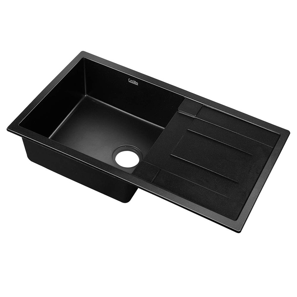 Cefito Stone Kitchen Sink 860X500MM Granite Under/Topmount Basin Bowl Laundry Black