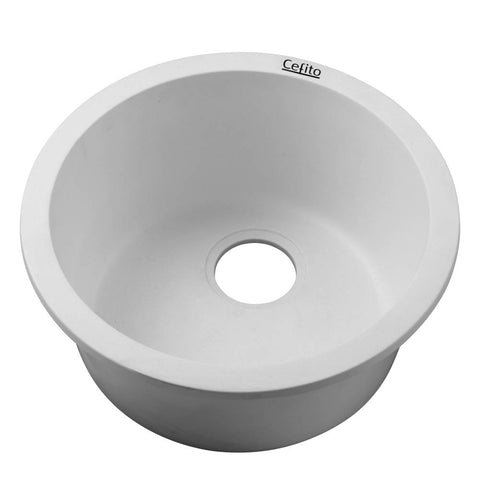 Cefito Stone Kitchen Sink Round 430MM Granite Under/Topmount Basin Bowl Laundry White