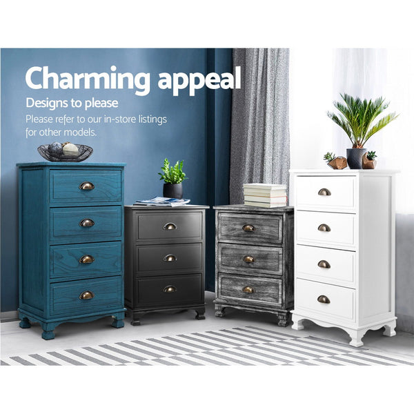 Artiss Bedside Tables Drawers Cabinet Vintage 4 Chest of Drawers Grey Nightstand
