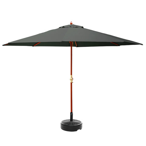 Instahut Outdoor Umbrella Pole Umbrellas 3M W/ Base Garden Stand Deck Charcoal