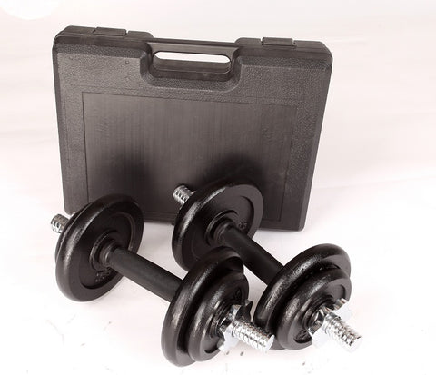 20kg Black Dumbbell Set with Carrying Case
