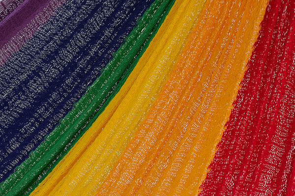 Single Size Cotton Mexican Hammock in Rainbow Colour