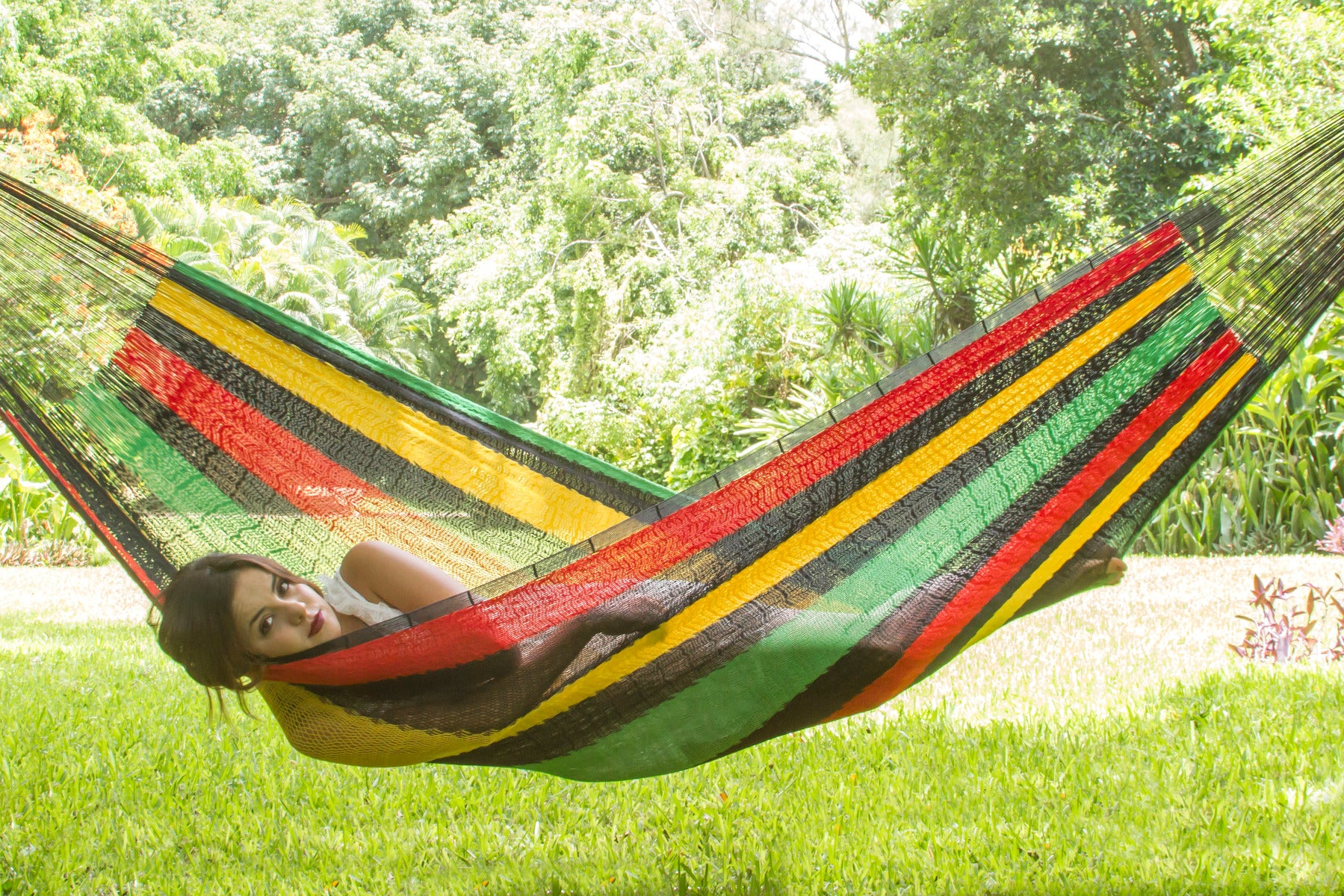 Queen Size Cotton Hammock in Rasta