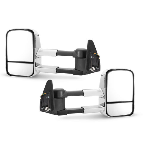 Pair Extendable Towing Mirrors Chrome Fit Toyota Prado 120 Series Wagon 03 - 09