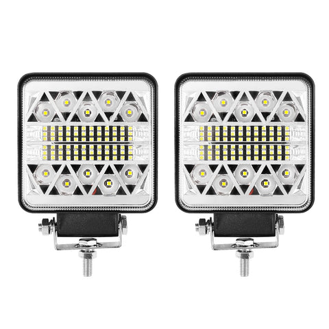 Pair 4inch LED Driving Lights Work Spot Flood Combo Cree Square Offroad 4WD
