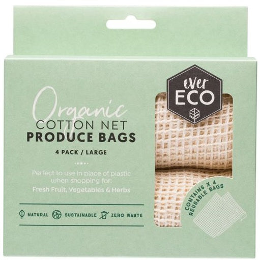 Ever Eco Organic Cotton Net Produce Bags (4 pack) - Body&Abode