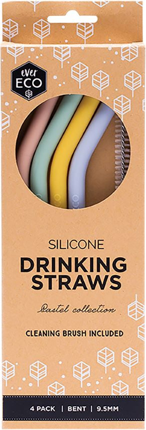 Ever Eco Silicone Straws Bent	4 Pack - Body&Abode