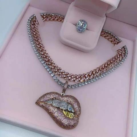 TONE COLOR MICRO PAVE PINK CUBIC ZIRCONIA DRIP LIP