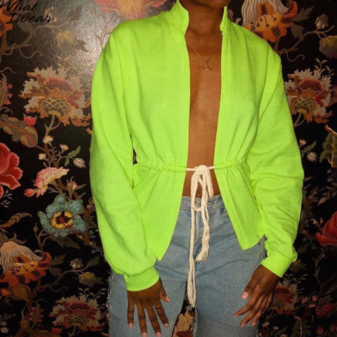 Neon Color Drawstring Collect Waist Top