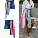 PRINTED RIBBON DENIM SKIRT