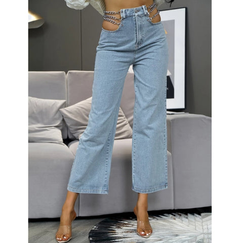 High Waist Cut Out Silver Chain Denim