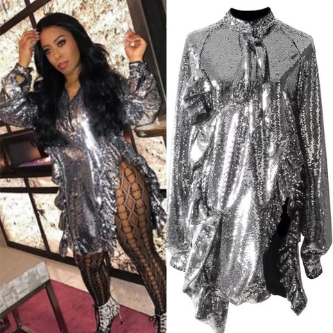 NIECY TRENDY SEQUINS MINI BLOUSE DRESS