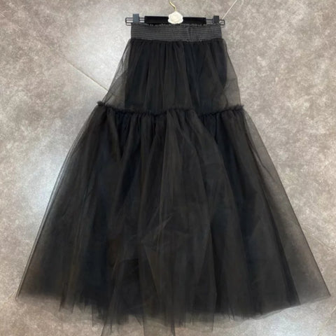 Black Solid Color Elastic Waist Multilayer Skirt