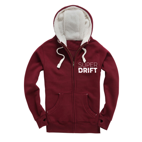 SuperDrift Statement Zipped Furry Hoodie - Maroon