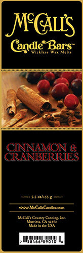 CINNAMON and CRANBERRIES Candle Bars-5.5 oz Pack