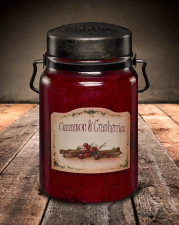 CINNAMON and CRANBERRIES Classic Jar Candle-26oz