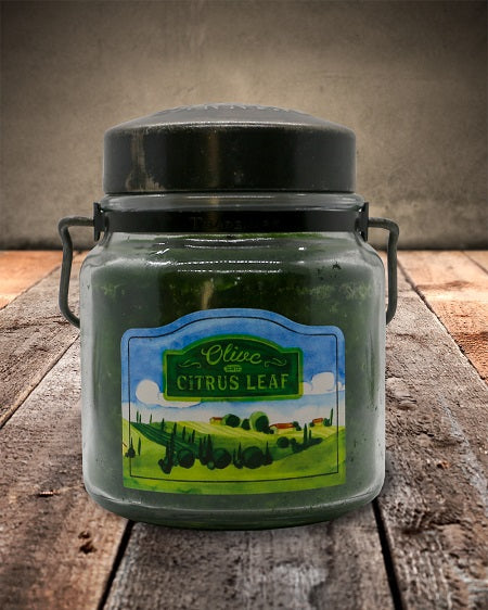 Olive Citrus Leaf Classic Jar Candle-16oz
