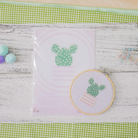 Bunny Ear Cactus (Pink) - Cross Stitch Kit