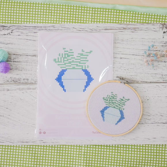 Zebra Succulent Cactus (Blue) - Cross Stitch Kit