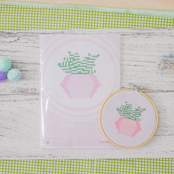 Zebra Succulent Cactus (Pink) - Cross Stitch Kit