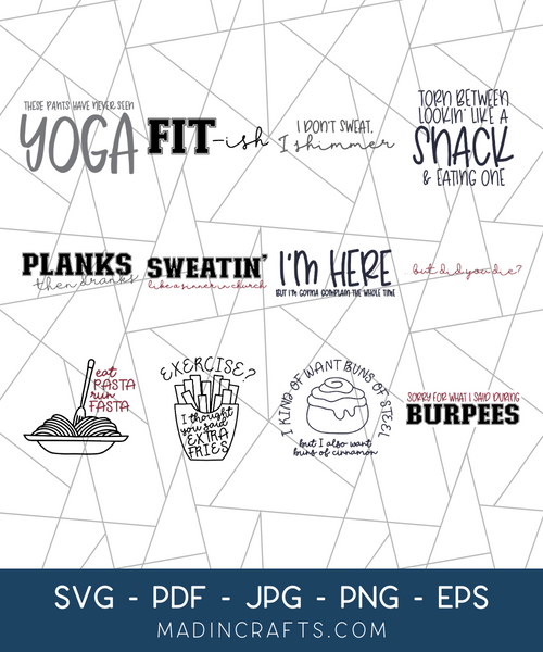 12 Snarky Workout SVGs Bundle