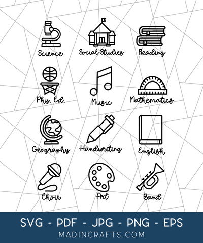 12 School Subject Label SVG Bundle