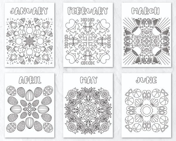 12 Months of Coloring Pages Printable Bundle
