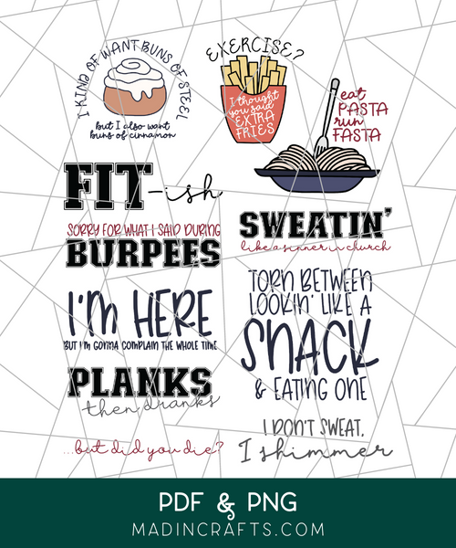 Snarky Exercise Printable Stickers