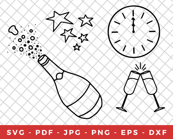 4 Hand Drawn New Year's Eve Illustrations