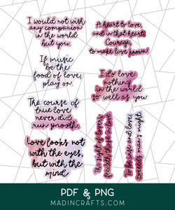 Shakespeare Valentine Quotes Printable Stickers