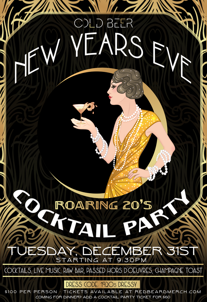Cold Beer Roaring 20s NYE Cocktail Party Ticket