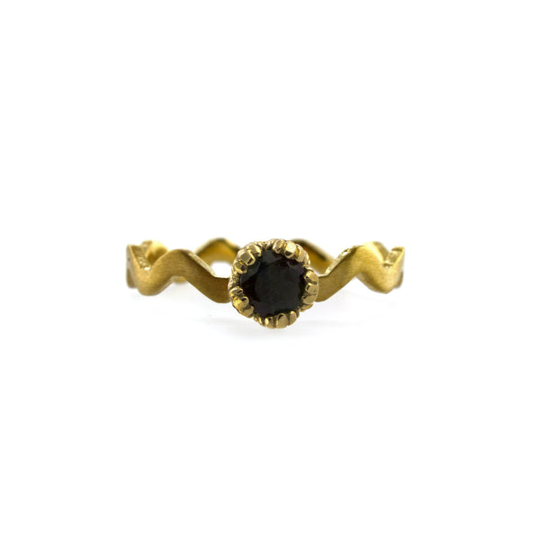 Villa Stacking Ring with Black Sapphire