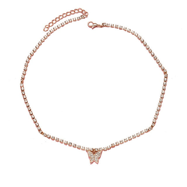 Crystal Butterfly Choker Necklace