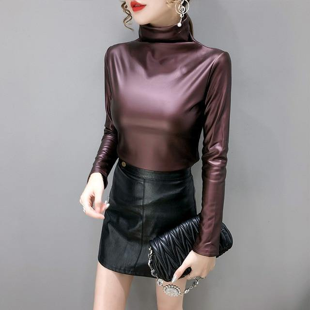 Turtleneck PU Top - Valenchia
