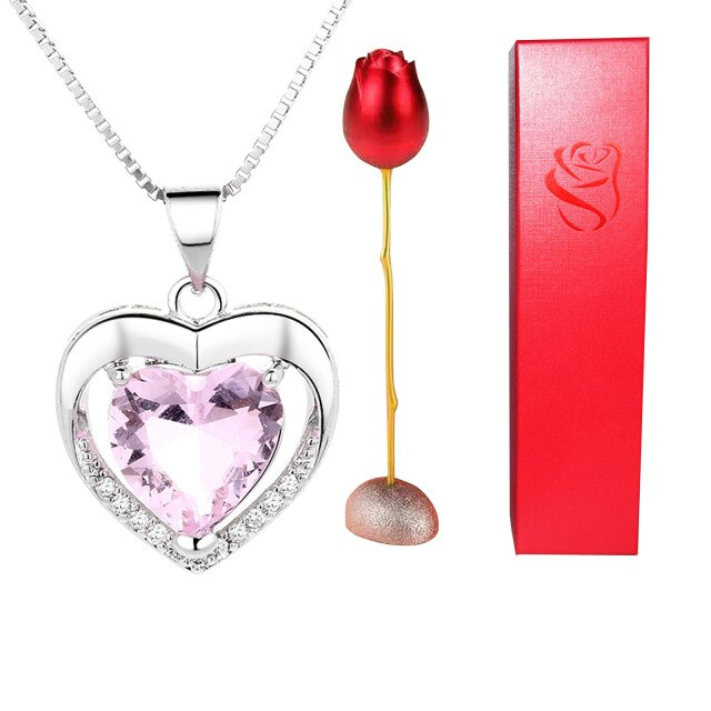 Heart Necklace Set with Rose Flower