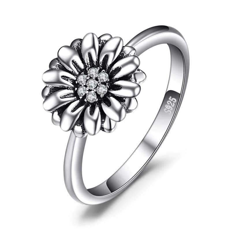 silver flower ring woman steampunk store Style