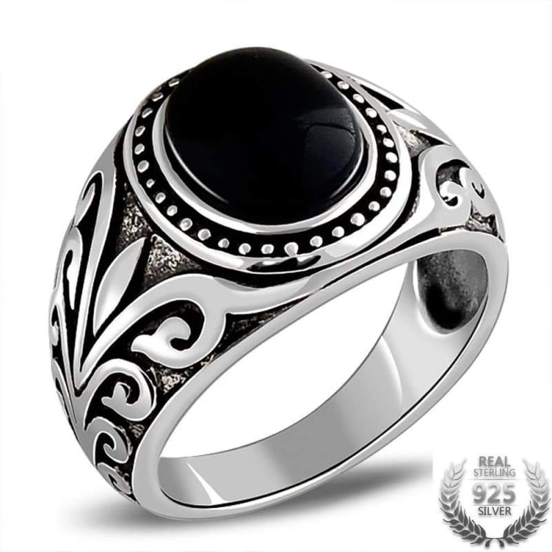 Silver & onyx steampunk ring