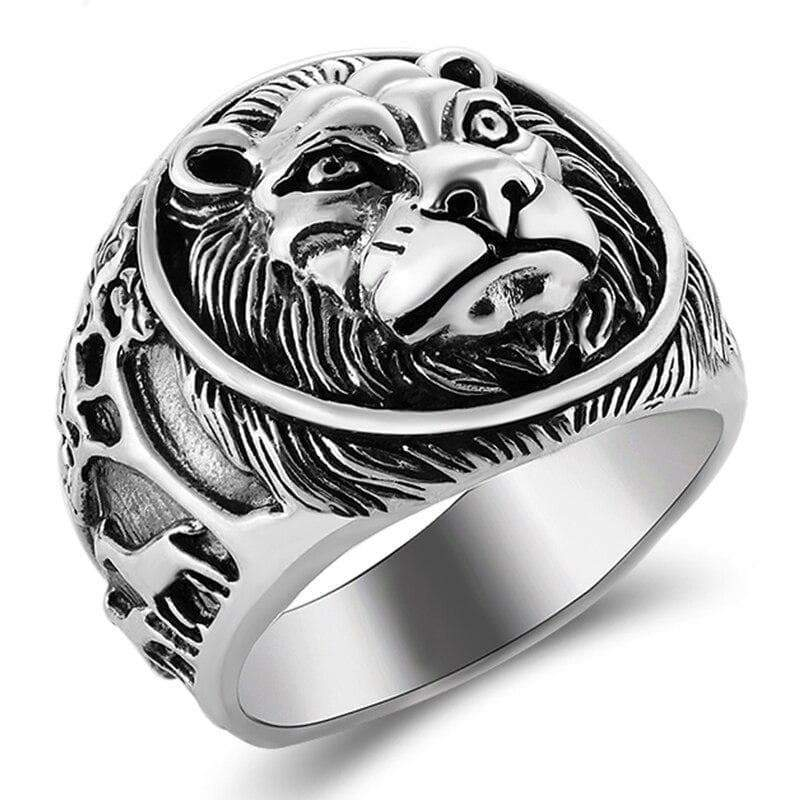 Steampunk silver lion ring