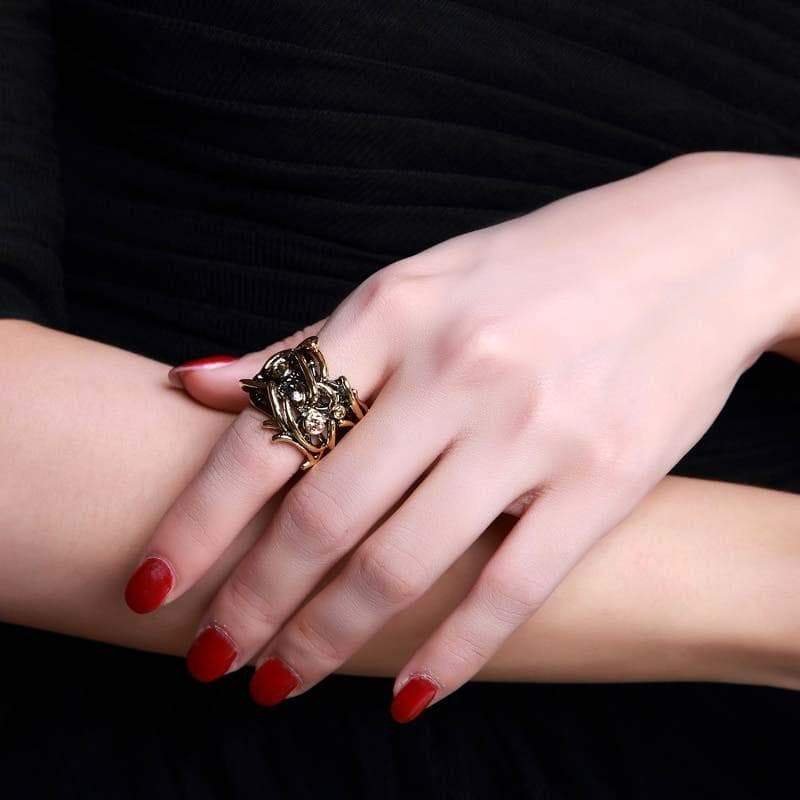 black gold ring gothic steampunk Style