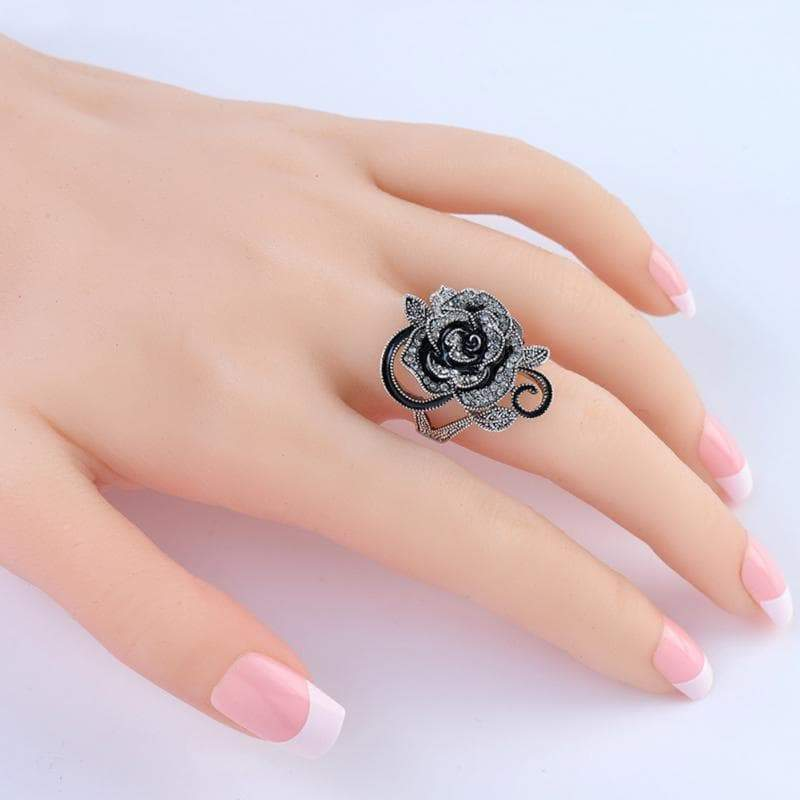 Steampunk black baccarat ring