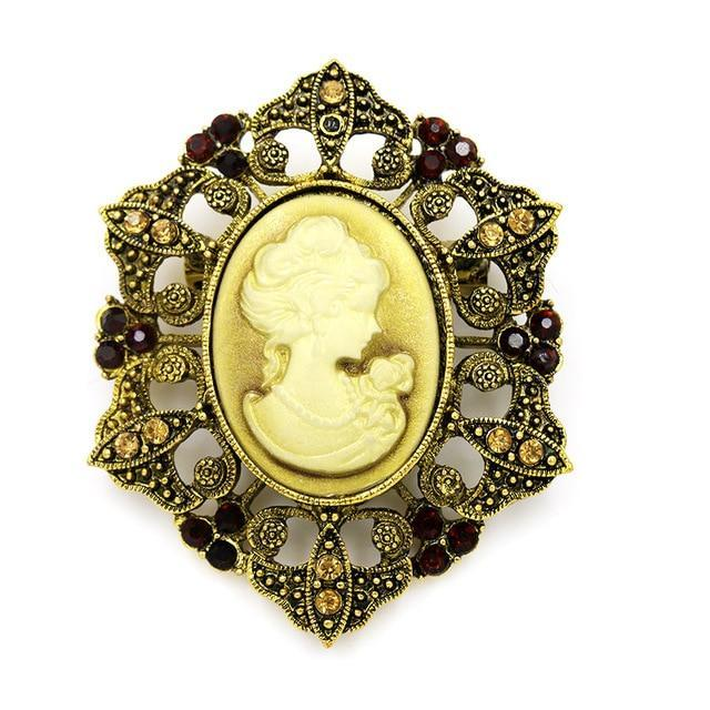 Antique cameo steampunk brooch