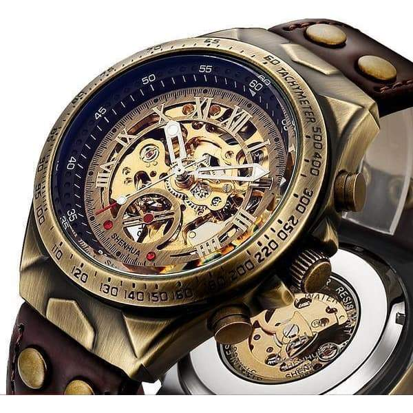 Men's skeleton watch leather bracelet steampunk store Dieselpunk