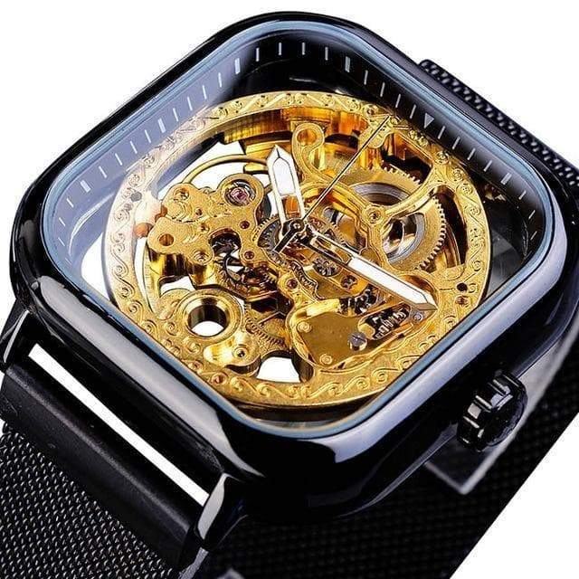 men's square skeleton watch steampunk store Victorian