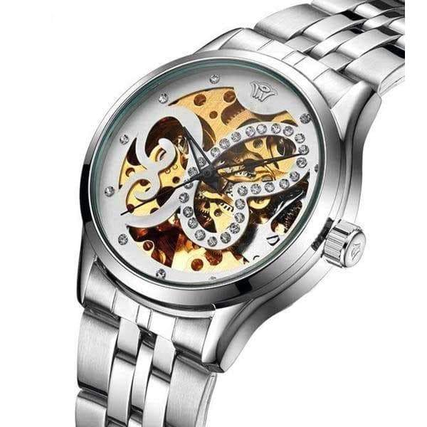 stainless steel woman skeleton watch steampunk store mode