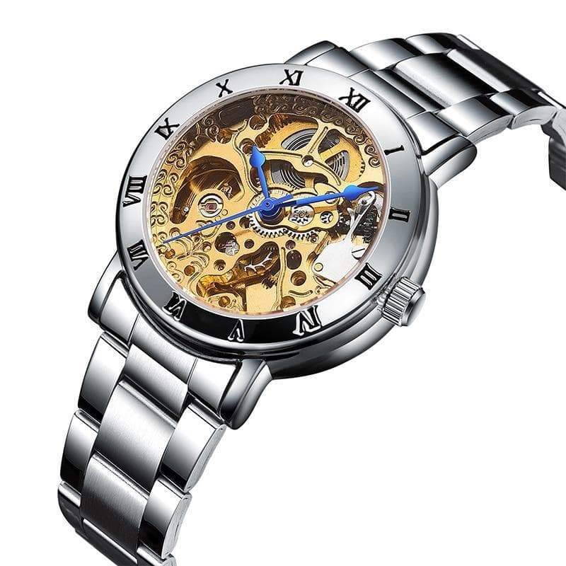 skeleton watch woman silver Gothic