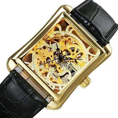 Rectangular skeleton watch
