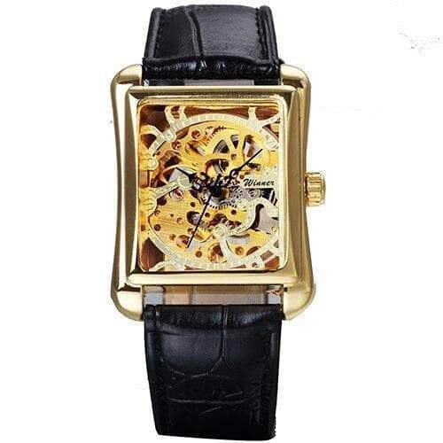 Rectangular women's skeleton watch Dieselpunk