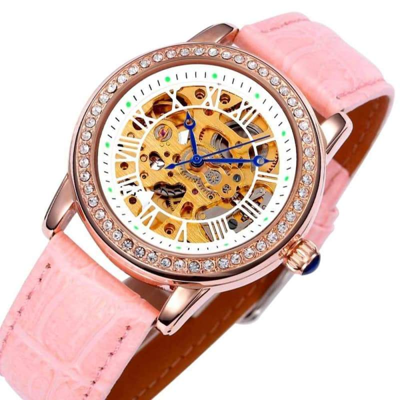 Pink skeleton watch