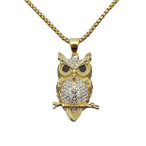 owl pendant gold plate steampunk store Dieselpunk