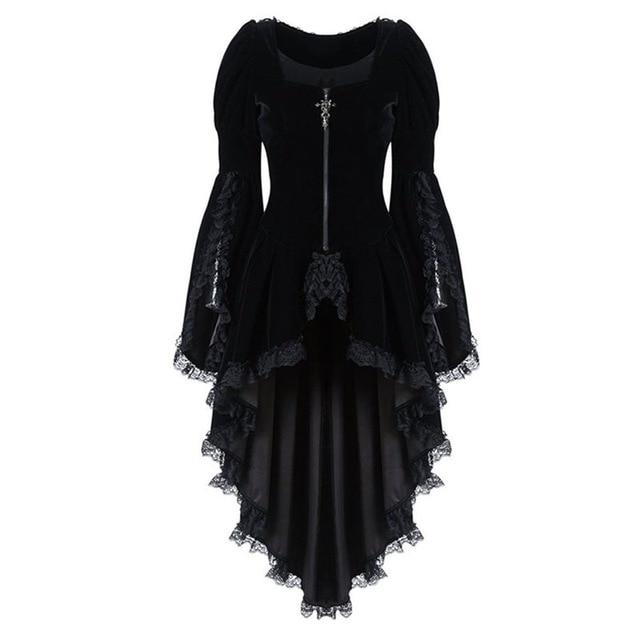 Black lace steampunk dress